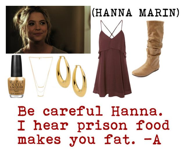 """Pretty Little Liars / Pilot 1x01 / Hanna Marin"" by shelbylynnjohnson ❤ liked on Polyvore featuring Charlotte Russe, Gorjana and OPI"