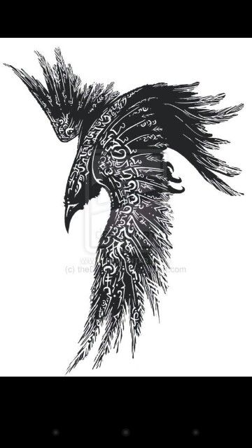 Possible tattoo idea of a Norse raven                                                                                                                                                      More