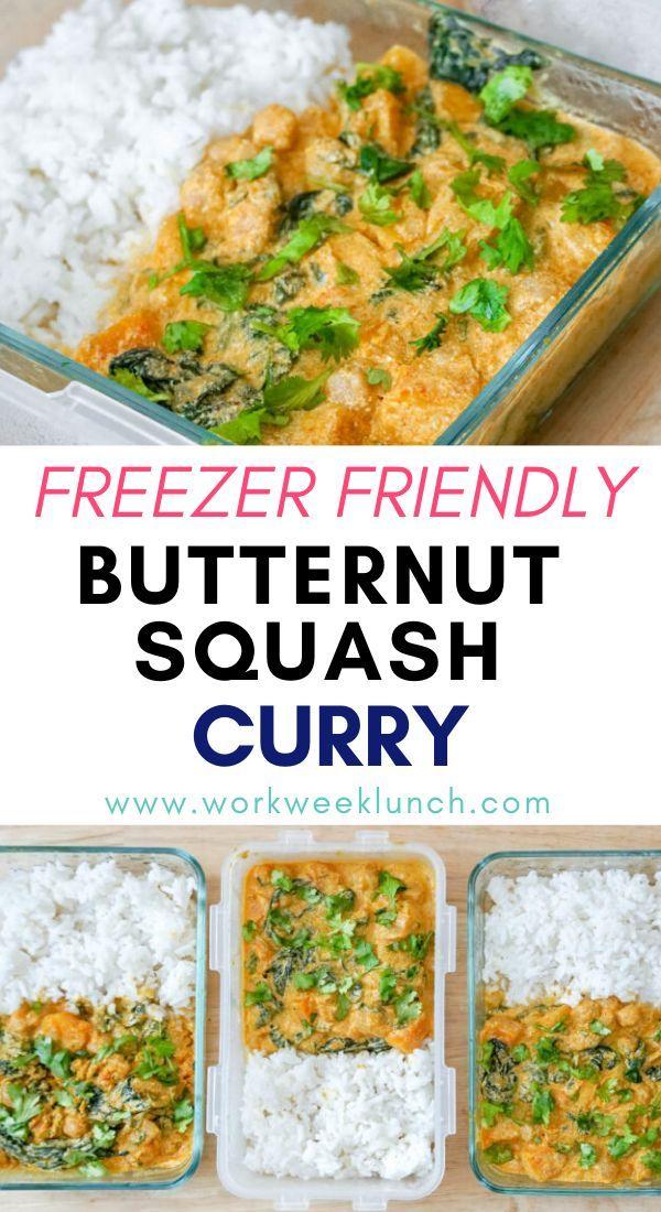 Freezer Friendly Vegan Butternut Squash Curry In 2020 Vegetarian Freezer Meals Vegetarian Meal Prep Freezer Friendly Meals