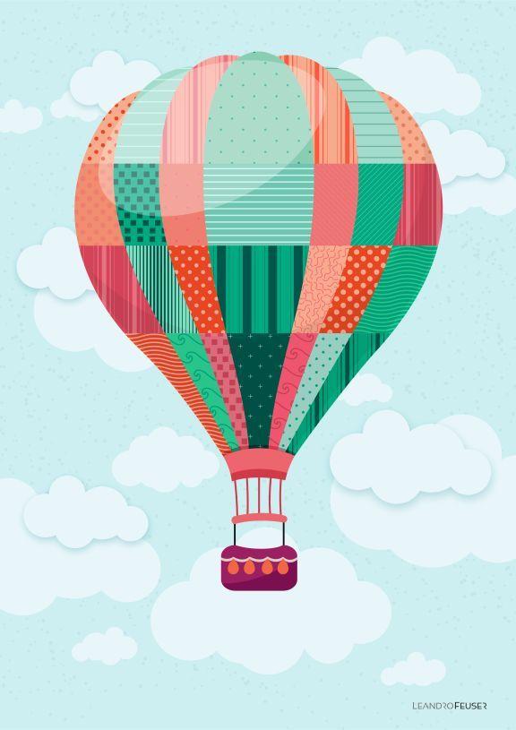 Poster Decorativo Balão de Ar;  Tamanho A3 (29,7x42cm); Impresso em papel couché…