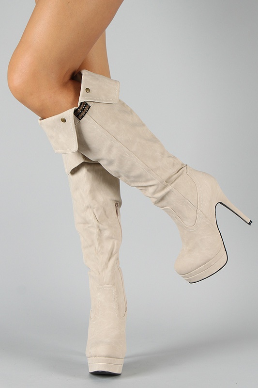 Lover-2 Cuff Round Toe Knee High Boot. Not white that's for sure. Would love it dark brown or black