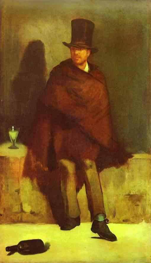The absinthe drinker is an early painting by Édouard Manet, c.1859, considered to be his first major painting and first original work. The Absinthe Drinker was the first work that Manet submitted to the Paris Salon, in 1859. It was rejected, with only Eugène Delacroix voting in its favour. Part of the reason for its rejection may be its subject; absinthe was thought to be addictive and considered morally degenerate.