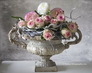 Beautiful Antique style vase and roses