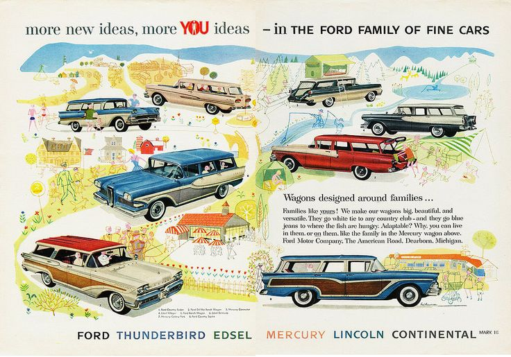 1958 Ford Motor Company station wagon lineup, including Mercury and Edsel