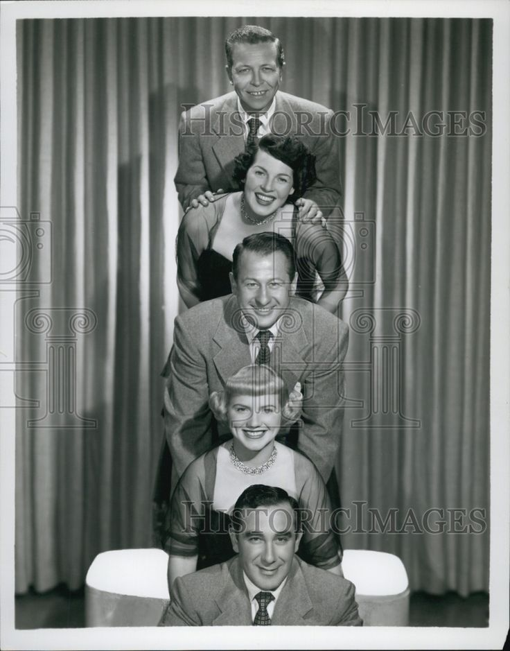 Judd Conlon Rhythmaires on Bing Crosby Show, 1954. From Bottom to top: Charlie Parlato (later a trumpeter with Lawrence Welk), Gloria Wood (sang for Kay Kyser), Jud Conlon, Loulie Jean Norman, Mack McLean.    Conlon, Norman, and Parlato were members of Kay Kyser's Campus Kids vocal group, mid-40's.