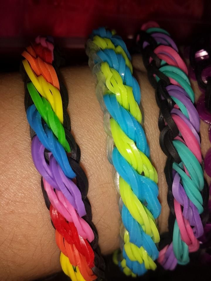 Something new. Beautiful bracelets designed and loomed by Amanda Manis on the Rainbow Loom. Tutorial may be coming in the future. (Rainbow Loom FB page)