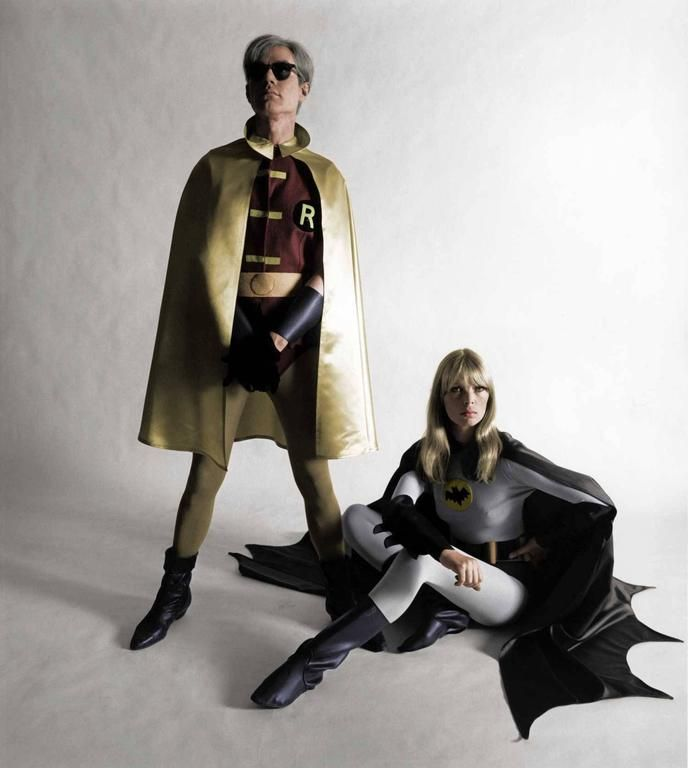Andy Warhol and Nico, Batman and Robin 1964 | From a unique collection of color photography at https://www.1stdibs.com/art/photography/color-photography/