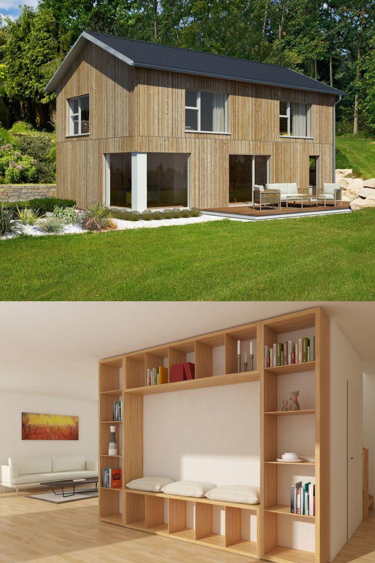 """Modernes Holzhaus """"Mein Ideenhaus"""" von Baufritz - Fertighaus Holzbauweise Satteldach Fassade Holz Einbaumöbel"""