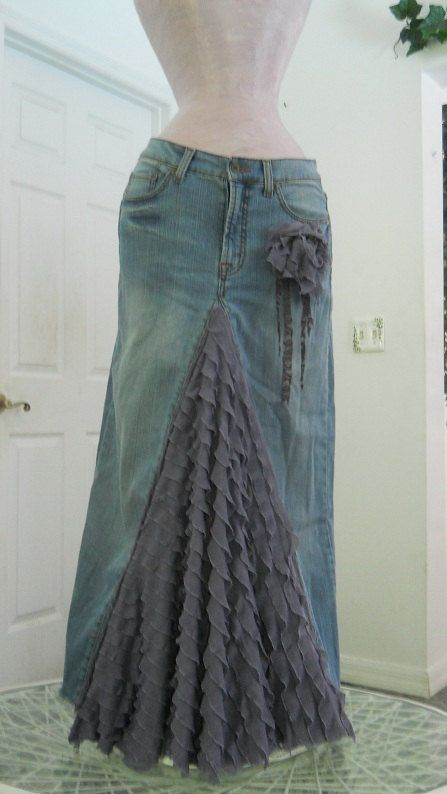 Skirt so easy to make out of an old pair of jeans! (With a little less ruffles.)