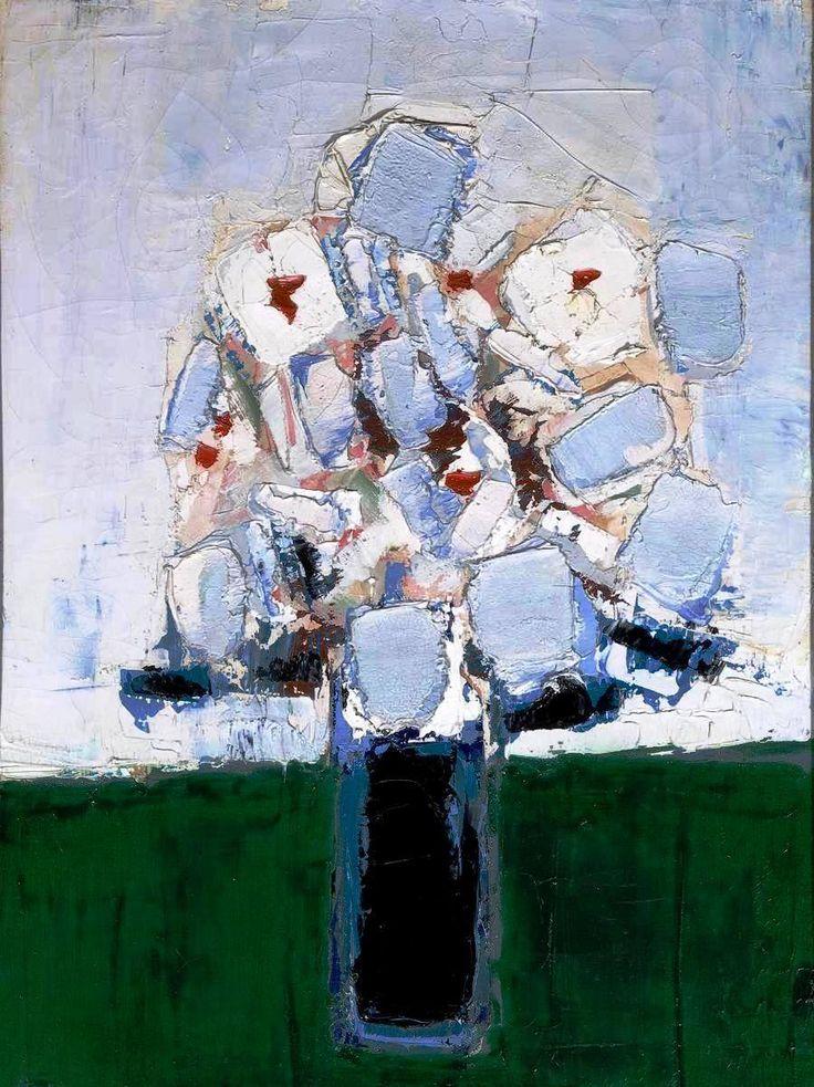 Nicolas de Staël - Fleurs dans un vase bleu, 1953. Oil on canvas, 73 by 54cm