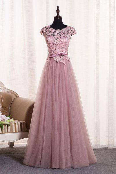 Rosa Tüll O Hals lange Spitze Top formale Abendkleid, langes Abendkleid mit M …   – Vestido elegante