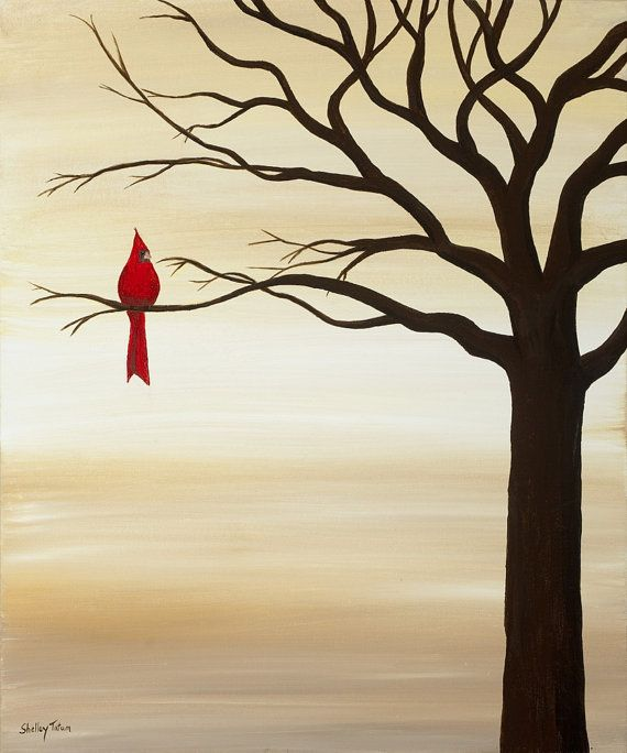 """Red Cardinal Bird Original Acrylic Canvas by SugarCreekArt on Etsy // for my grandmother {""""Gin-Gin""""} :)"""