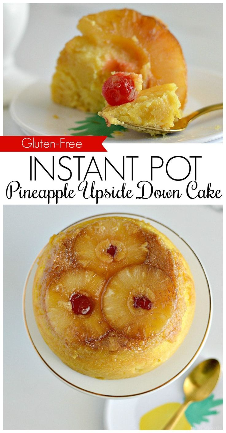 This instant pot gluten-free pineapple upside down cake is a decadent dessert th…
