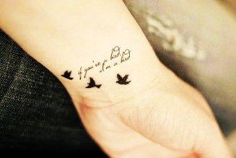 Cute Wrist Quote Tattoos for Girls - Best Bird Wrist Quote Tattoos for Girls - LoveItSoMuch.com