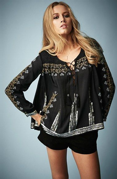 Kate Moss for Topshop Folk Smocked Blouse available at #Nordstrom