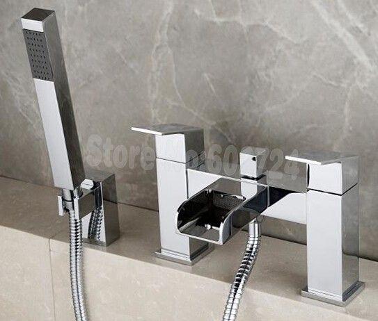 Бортике Водопад ванна Кран с ручным душем