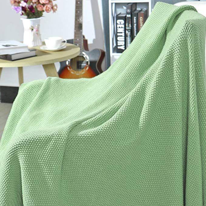Amazon.com: PICCOCASA 100% Cotton Knit Throw Blanket Solid ...
