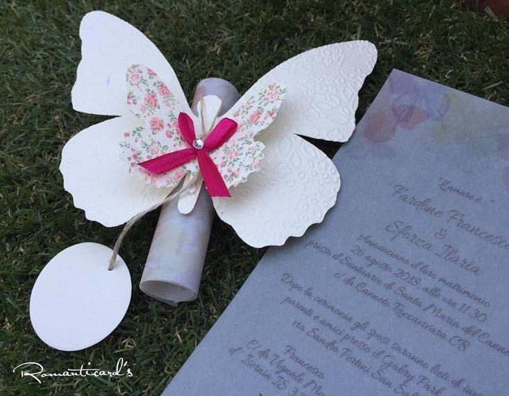 Partecipazione motivo Farfalla con etichetta per personalizzare by Romanticards, by Romanticards e Little Rose Handmade, 1,80 € su misshobby.com
