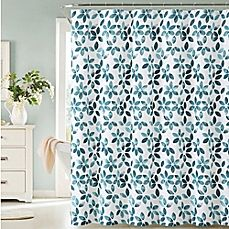 image of Veria Shower Curtain in Teal/White