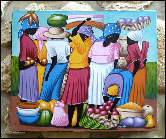 Colorful Haitian Market Women  Original Primative by TropicAccents, $39.95   Haitian Art  #Haiti