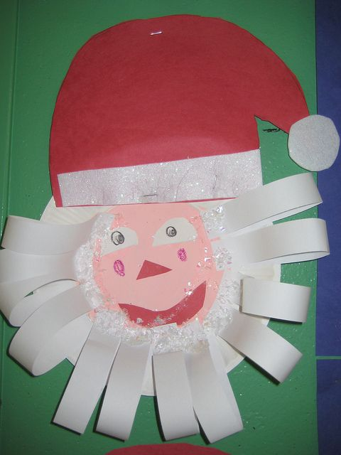 Paper plate Santa craft for Kindergarten.