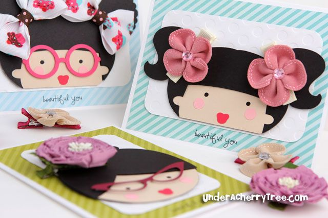 Make these cute cards for giving hair bows as gifts! Love it!! {Template on website}