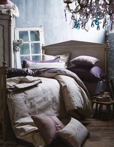 Mmm lavender and blue and creme bedroom - so relaxing!