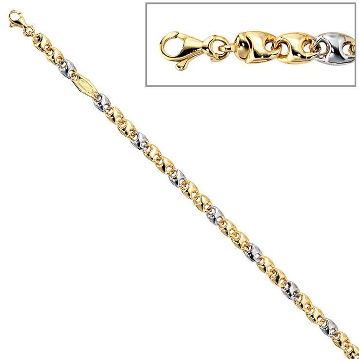 Armband 585 Gold Gelbgold Weißgold kombiniert 19 cm Karabiner A33118 http://www.ebay.de/itm/Armband-585-Gold-Gelbgold-Weissgold-kombiniert-19-cm-Karabiner-A33118-/161834248331?ssPageName=STRK:MESE:IT