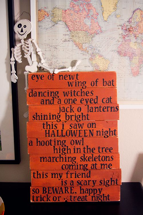 Halloween Poem...eye of newt, wing of bat...I could do on pallet wood or even cardboard for the window.....on canvas..whatever...