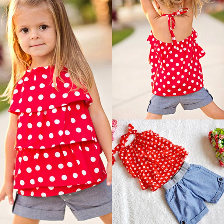 2016 summer kids girl set sling chiffon shirt polka dot