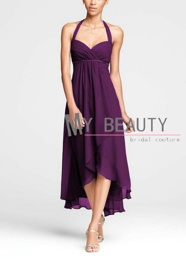Custom Made 2013 Crinkle Chiffon Halter High Low Bridesmaid Dresses Grape Tea Length Guest Dresses $87.08