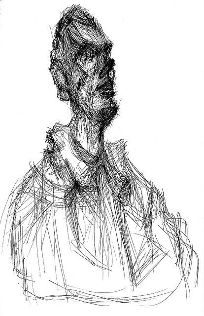 """Giacometti """"bust of Diego"""" 3/4 drawing by jth1968, via Flickr"""