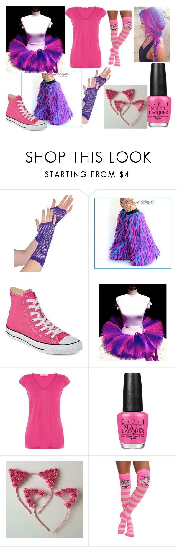 """Cheshire cat (Costume)"" by jennyparkerwoods ❤ liked on Polyvore featuring Converse, Oasis, OPI and Disney"