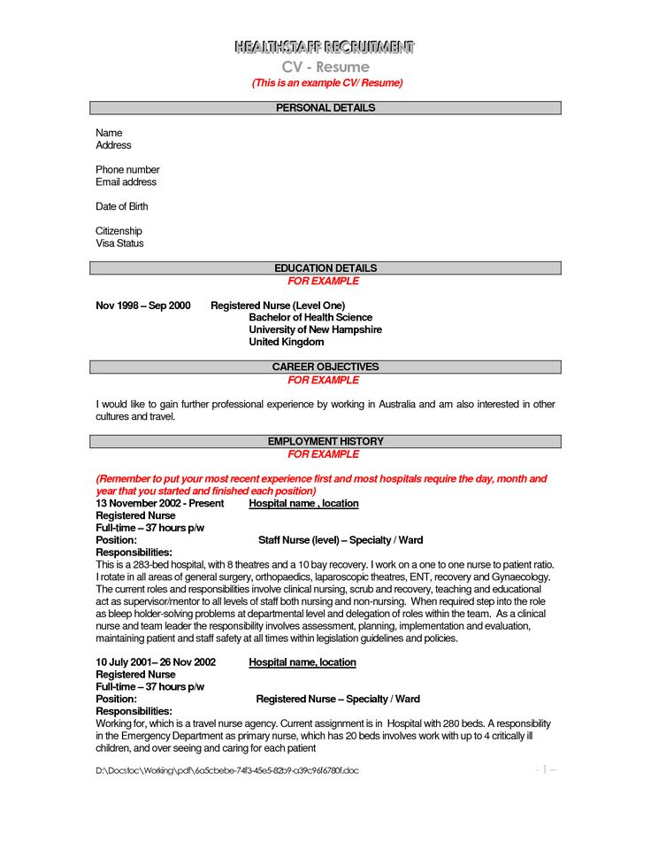 27 best cv images on Pinterest Resume templates, Cv template and - cosmetic nurse sample resume