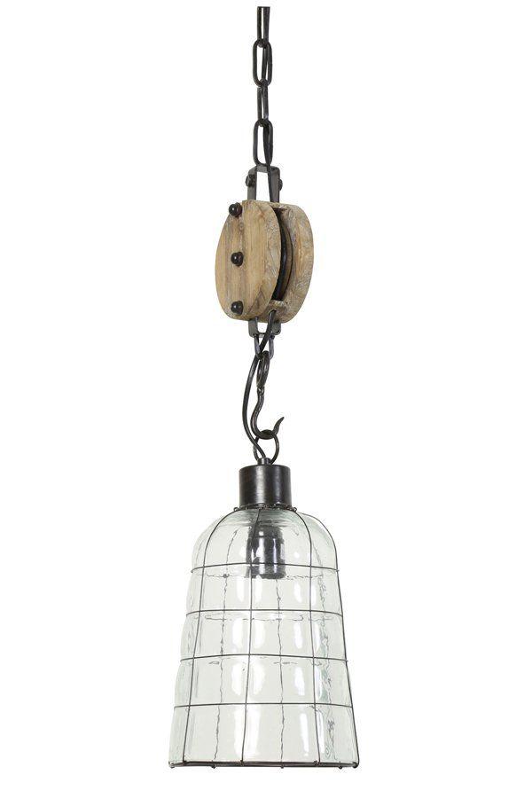 Hanglamp Ø18 cm JENTE glas metaal met katrol