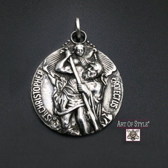 St Christopher Patron Saint Of Travelers Large Men S Sterling Silver Pendant In High Relief Sterling Silver Pendants Sterling Silver Mens Patron Saints