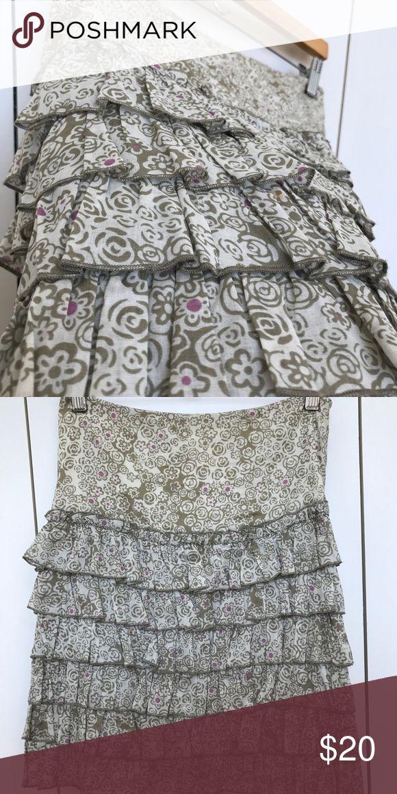 Anna Sui size 0 skirt A beautiful cotton skirt. Size 0. Ruffles are so fun. Anna Sui Skirts Midi