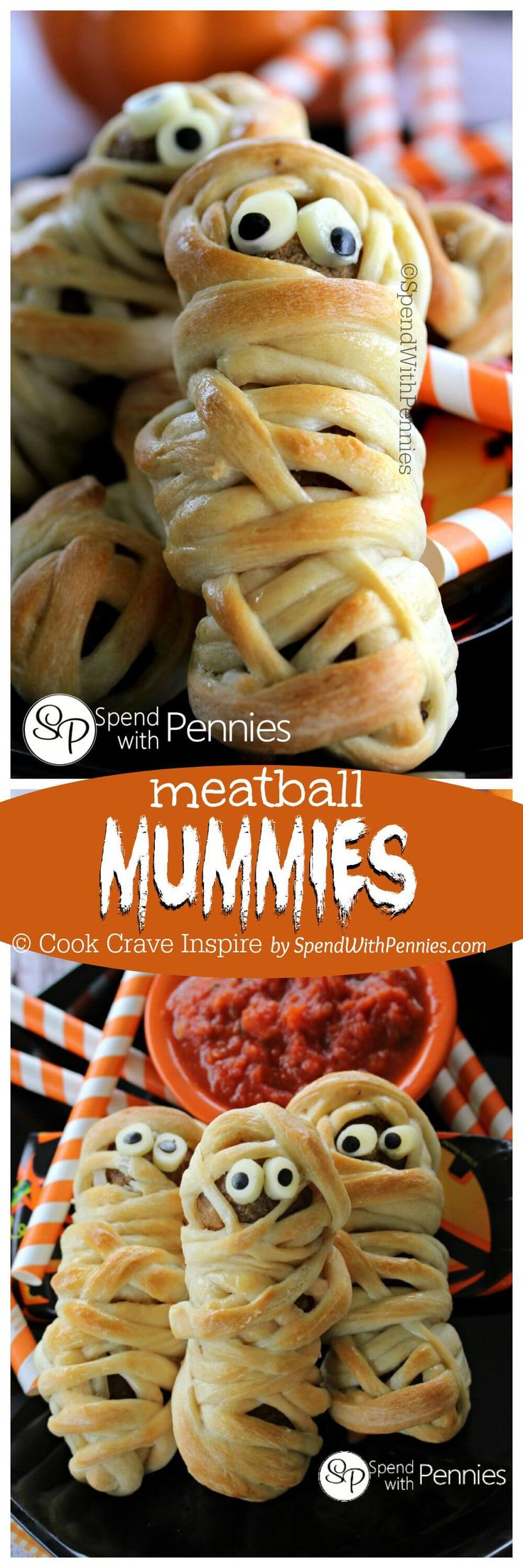 How cute are these?? Meatballs Mummies are a fun twist on the same ol' mummy hot dogs that we've been making for years! These little guys make a cute Halloween Dinner idea for kids but they're fun any time of year!: