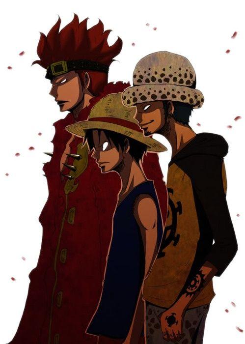 ONE PIECE - les 3 Capitaines de l'arc de Sabaody : Trafalgar Law, Eustass Kidd et Monkey D. Luffy