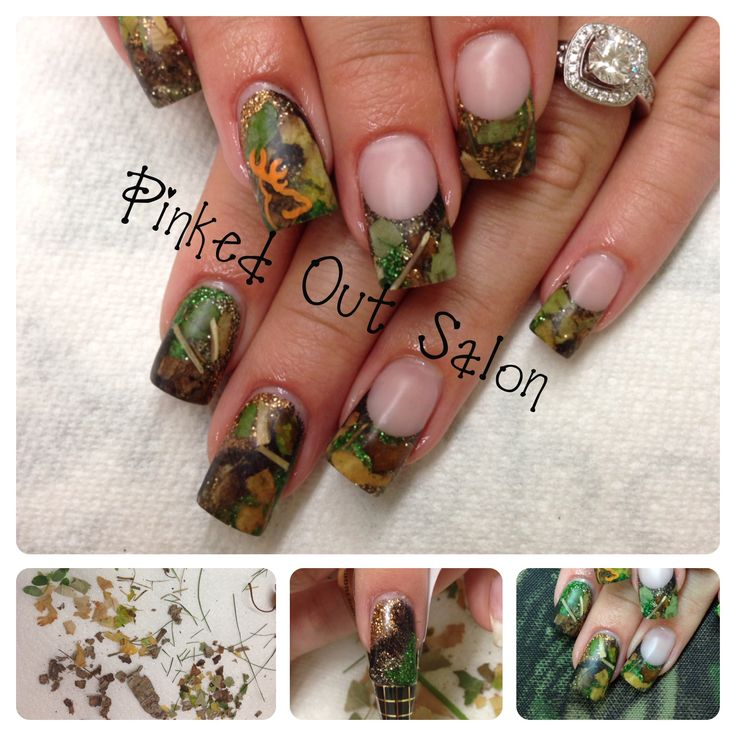 REAL hunting camo nails!  Real leaves, grass, twigs and bark inside acrylic!  Check out Pinked Out Salon on FB. Picture tutorial posted. https://www.facebook.com/pages/Pinked-Out-Salon/114500101995460