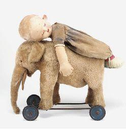 A Steiff elephant on wheels