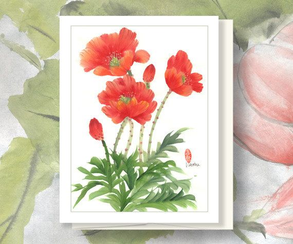 Watercolor Chinese Brush Painting Card: Poppies via Etsy