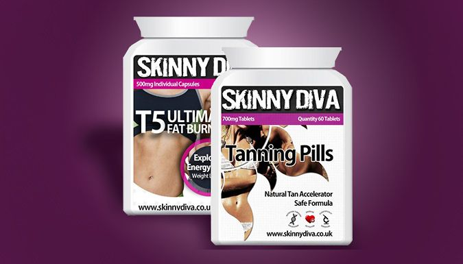 1 or 3 Month Supply of T5 Fat Burner and Tanning Pills Bundle Flaunt your figure with the T5 Fat Burners and Tanning Pills      Choose between a 1 month of 3 month supply       Bundle together can help you feel more confident      T5 burners aim to increase fat loss      Tanning pills help to build up a golden glow      Simply take 2 of each tablets twice a day      Fat burners aim to help...