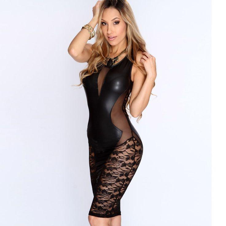 2016 New Sexy Fashion Women Dress Black Faux Leather Floral Lace Mesh Little Black Club Dress LC21643
