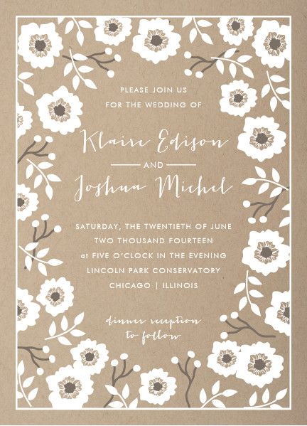 kraft florals, wedding invitation by lehan veenker for minted