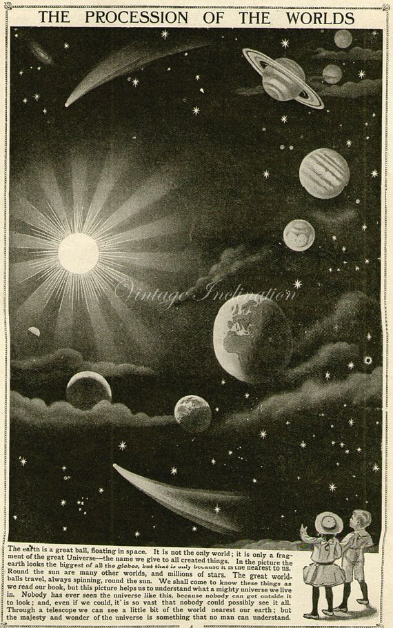 Vintage 1910 Antique SOLAR SYSTEM astronomy by VintageInclination