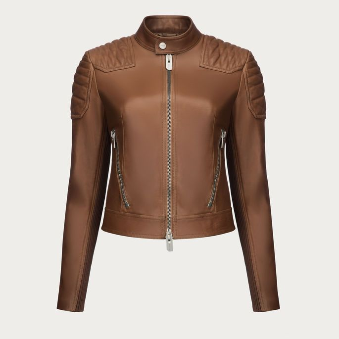 FITTED LEATHER JACKET. An opulent leather aviator jacket in a cropped fit, finished with a fur collar. Shop this leather aviator jacket from Bally.