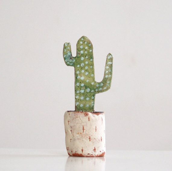 Miniature Cactus-Ceramic Cactus-Botanical Art-Ceramic by Vsocks