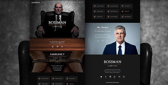 Bossman Lawyers by designblackbird This is an exclusive and customizeble website theme. Simple and Easy, contain only the homepage with all the information. Fully cu