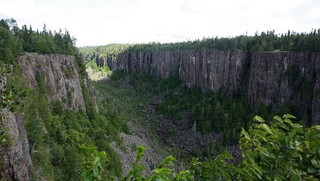 Sheer cliffs and rock walls of Ouimet Canyon, make it a wonder to see!